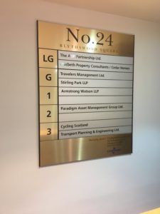 Bespoke directory board designed, manufactured and installed.