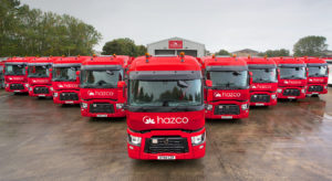 A set of 9 trucks painted to the owners colour of red