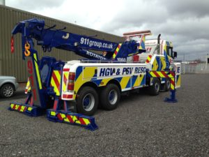 HGV recovery rotator, in full reflective livery to match customers existing fleet