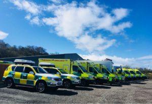 Ambulance fleet livery, including 4x4's, ambulances and command truck