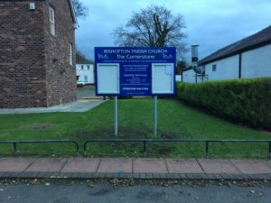 Church hall sign with 2 lockable poster cases to allow notices to be changed regularly