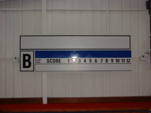 Custom scorebaords for any sport designed and manufactured with hooks for scores to be added as the game progrsses