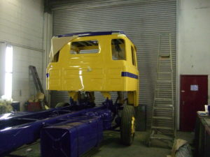 Scania 111 in the paintshop during its refurbishment