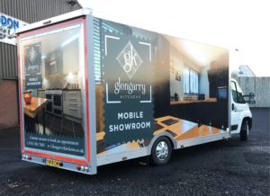 Full box wrap giving great impact to this mobile kitchen showroom