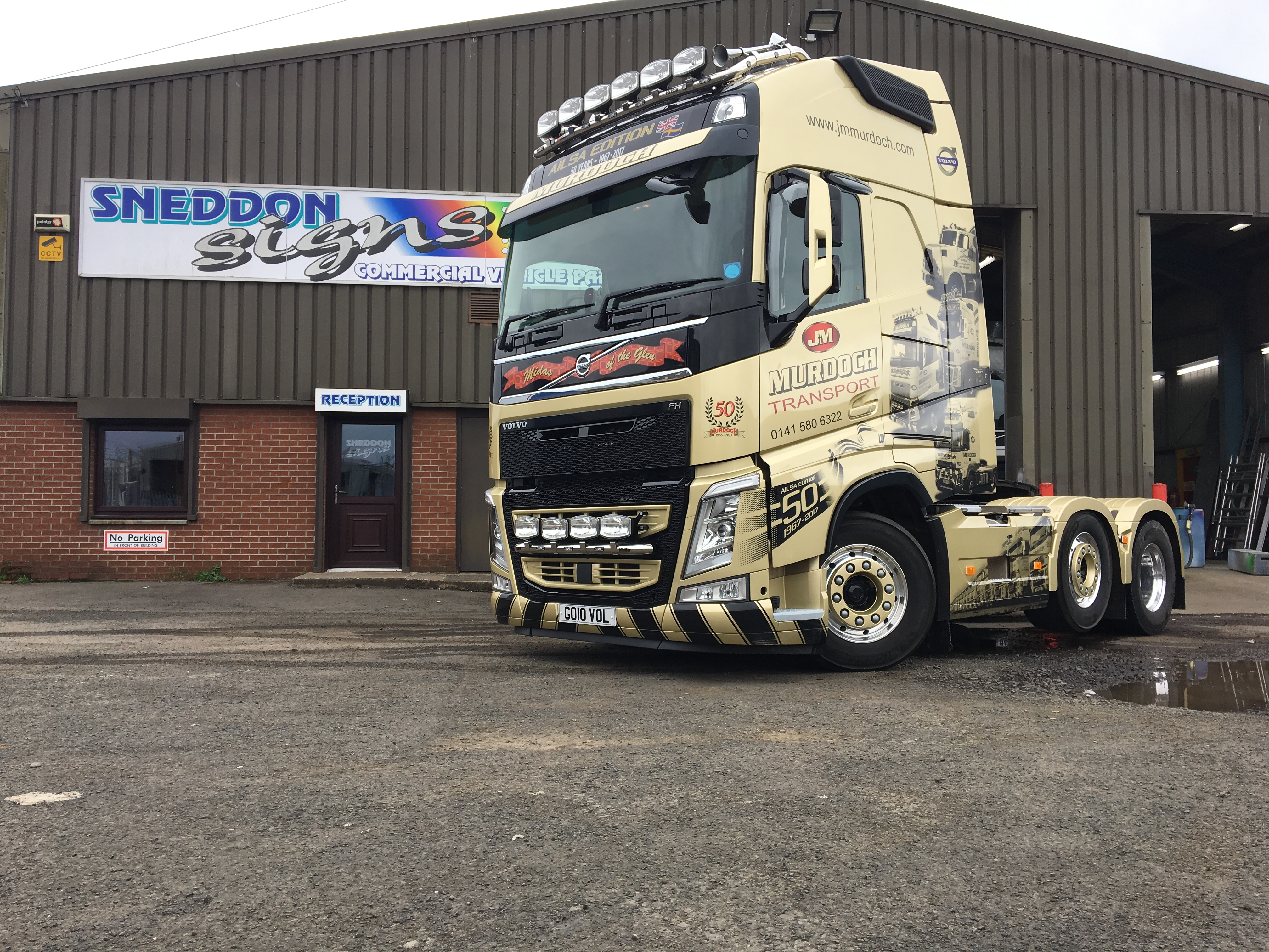 Truck cab wrapped and lettered for a 1 off special edition truck