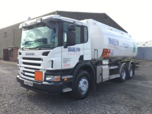 Fuel tanker chassis, cab and tank fully resprayed and lettered in the clients new livery