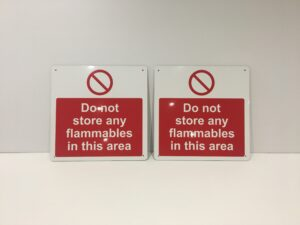 Photo of 2 bespoke safety prohibition signs