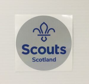 picture of a reflective sticker with the Scouts Scotland logo