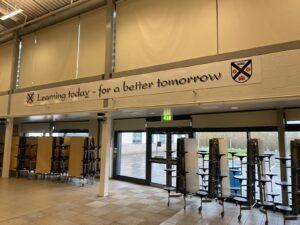 9 metre long sign of school motto