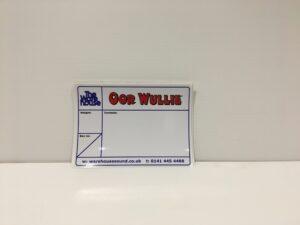 Bespoke flight case label for 'Oor Wullie' Tour
