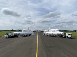 2 aircraft refuellers at Glasgow Airport