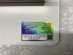 photo of date record sticker demonstrating 5 year guarantee