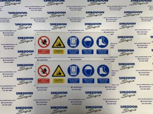 Bespoke safety signage with a range of different symbols