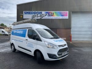 Glazier's van with new graphics