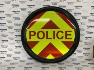 Wheel cover for 4x4 with police text and chevrons